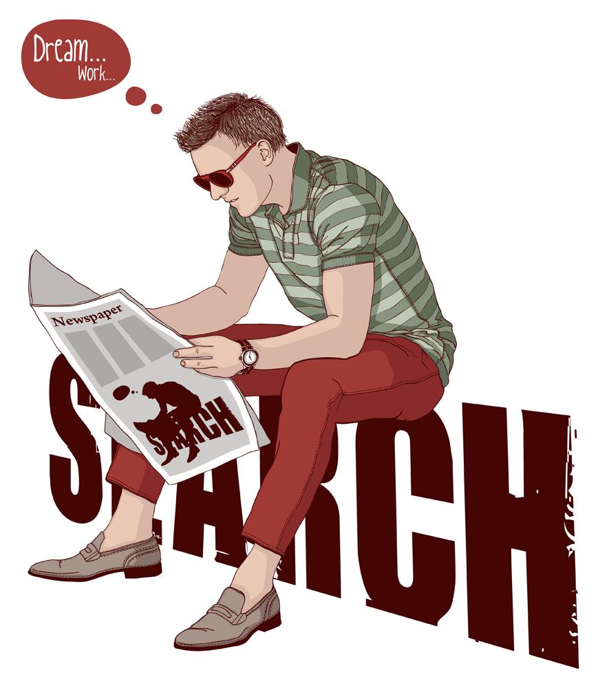 Человек читает газету в поиске вакансий