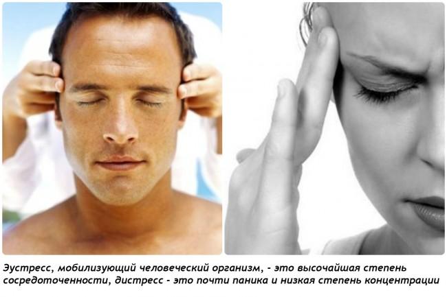 коллад: мужское и женское лица, мужское расслабленное, женское утомленное, эустресс и дистресс