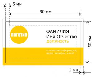 Размер визитки