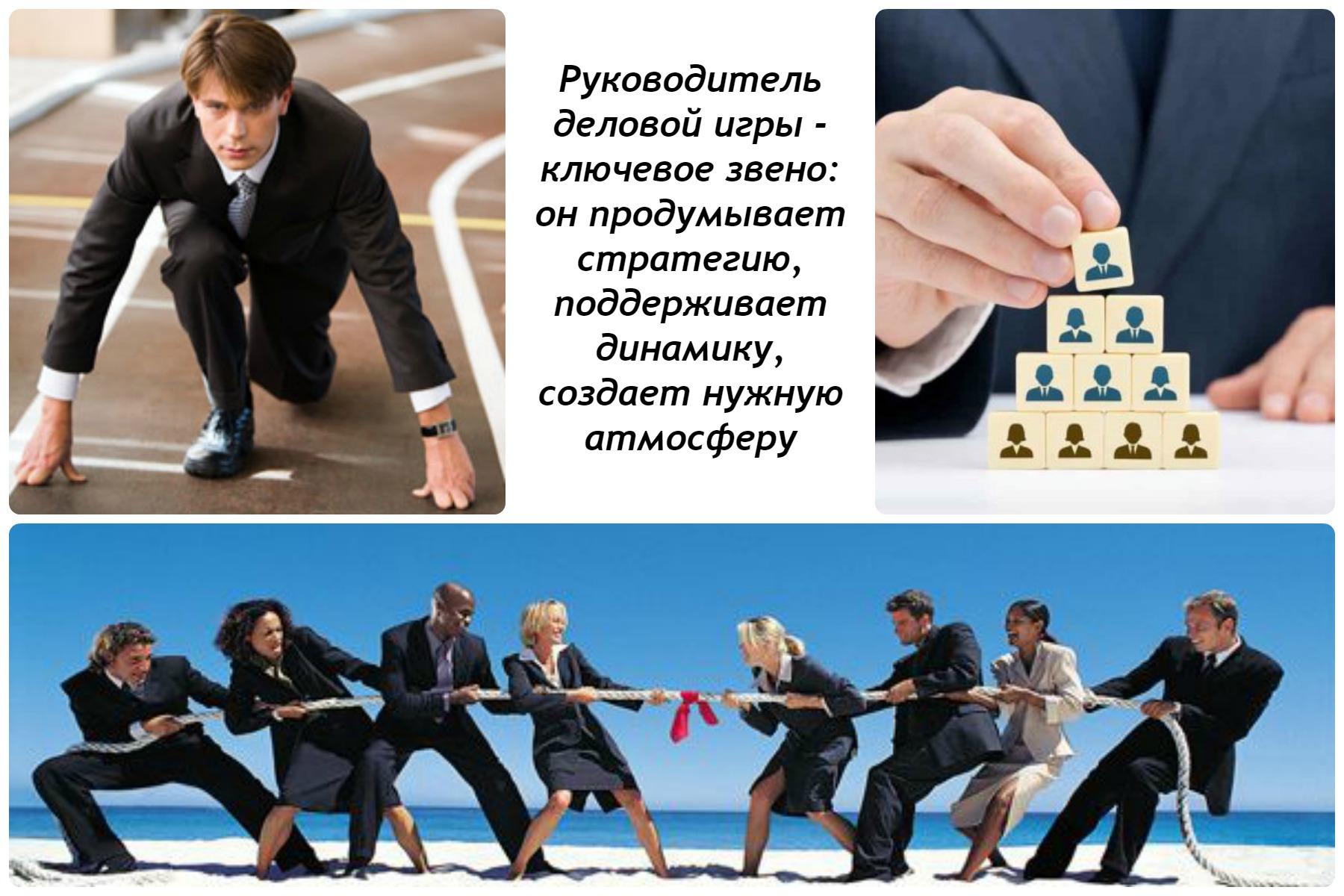 коллаж 3 картинки: клерк на старте, клерки за перетягиванием каната и рука лидера